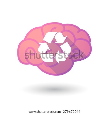 Illustration of a pink brain with a recycle sign - stock vector