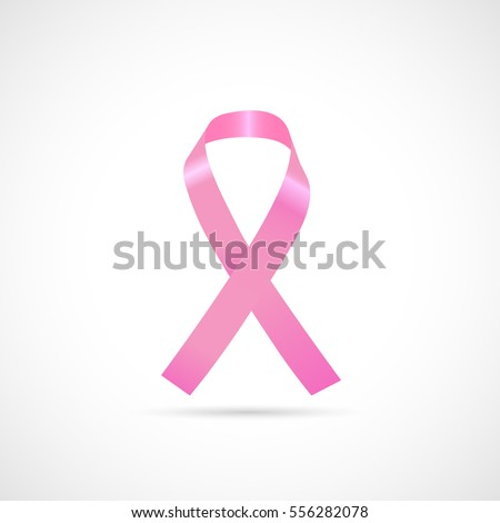 Illustration of a pink cancer awareness ribbon isolated on a white background.