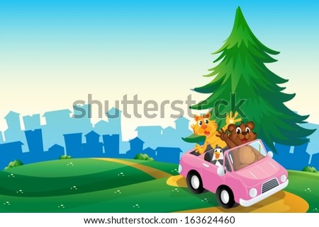 Illustration of a pink car with animals running at the hilltop - stock vector
