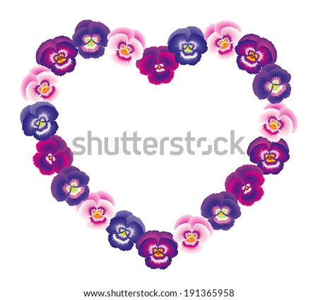 Illustration of a pink, purple and violet pansy heart bouquet. - stock vector