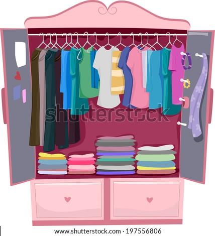 Illustration Pink Wardrobe Full Womens Clothes Stock ...
