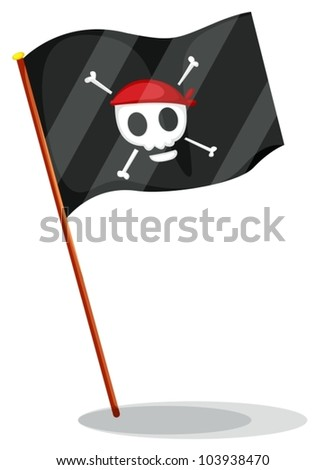 Illustration of a pirate flag - stock vector