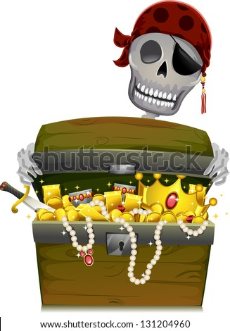 Illustration of a Pirate Skeleton Opening a Treasure Chest - stock vector