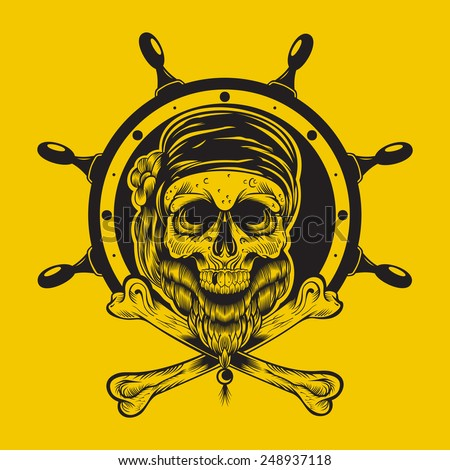 Illustration of a pirate skull with steering wheel.  - stock vector