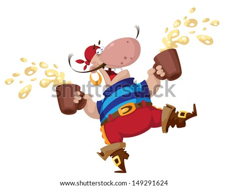 illustration of a pirate with two beers - stock vector