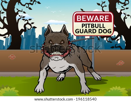 illustration of a Pit bull dog guard the yard on city background - stock vector