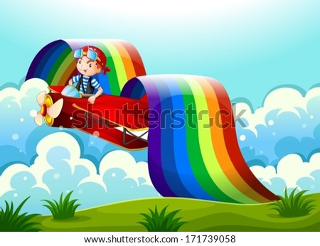 Illustration of a plane with a young boy and a rainbow in the sky - stock vector