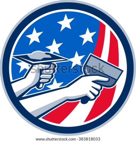 Illustration of a plasterer hand repair drywall with putty knife and holding a hawk with plaster set inside circle with American USA stars and stripes flag done in retro style. .