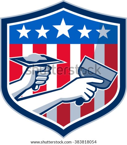 Illustration of a plasterer hand repair patch drywall with putty knife and holding a hawk with plaster set inside crest shield with American USA stars and stripes flag done in retro style.  - stock vector