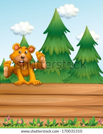 Illustration of a playful bear above the signboard near the pine trees - stock vector