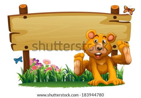 Illustration of a playful bear near the empty wooden signboard on a white background - stock vector