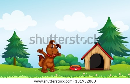 Illustration of a playful brown puppy - stock vector