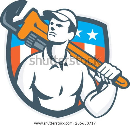 Illustration of a plumber carrying monkey wrench on shoulder looking up to the viewed from front side set inside shield crest with usa flag stars and stripes in the background done in retro style.