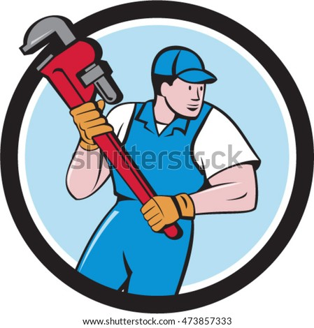 Illustration of a plumber holding giant pipe wrench looking to the side viewed from front set inside circle on isolated background done in cartoon style.