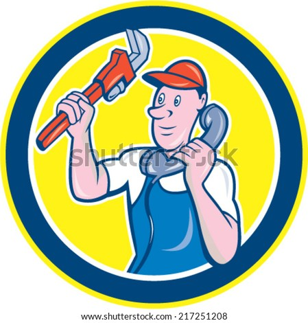 Illustration of a plumber holding monkey wrench and telephone talking set inside circle done in cartoon style on isolated background.