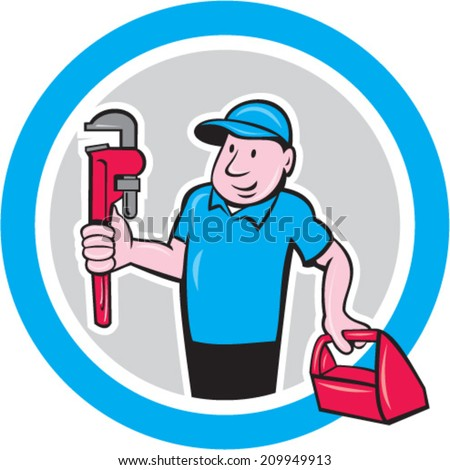 Illustration of a plumber holding monkey wrench and toolbox set inside circle done in cartoon style on isolated background.