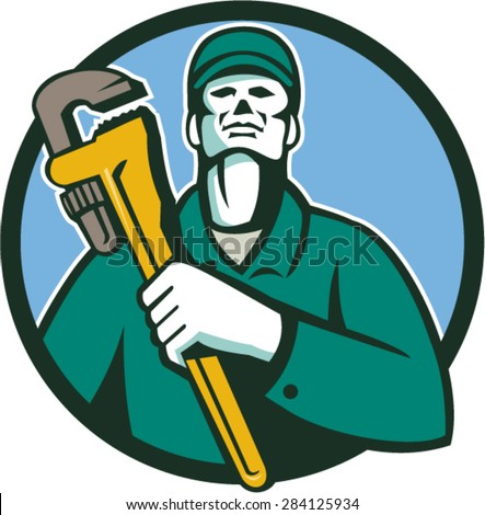 Illustration of a plumber holding monkey wrench on chest looking up viewed from front side set inside circle on isolated background done in retro style.
