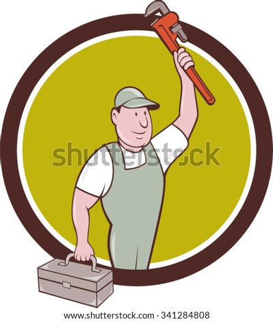 Illustration of a plumber holding monkey wrench raised up over head and carrying toolbox on the other hand looking to the side set inside circle on isolated background done in cartoon style.  - stock vector