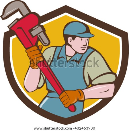 Illustration of a plumber wearing hat running holding giant monkey wrench looking to the side viewed from front set inside shield crest on isolated background done in cartoon style.