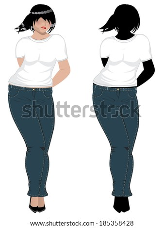 Illustration of a plump woman in jeans and white t-shirt.