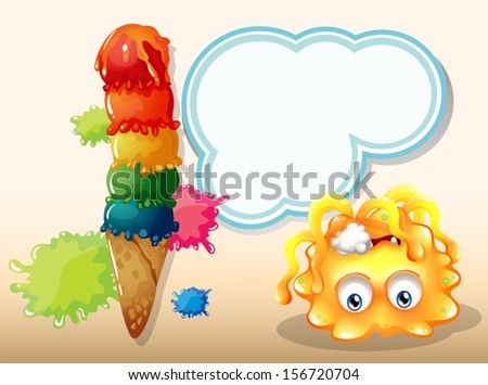 Illustration of a poisoned orange monster near the big icecream