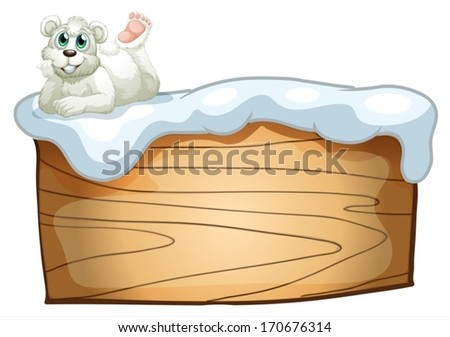Illustration of a polar bear above the empty wooden board on a white background - stock vector