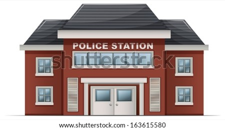 Illustration of a police station building on a white background - stock vector