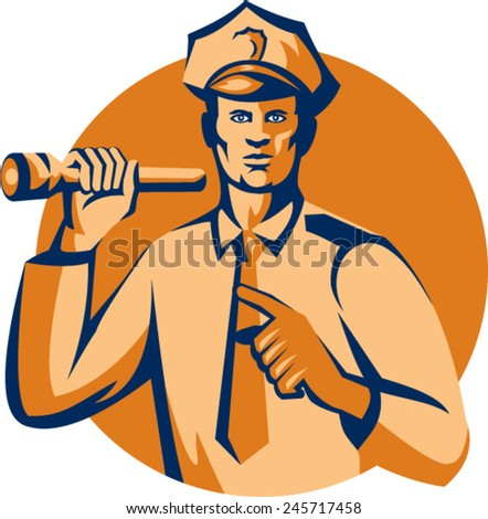 Illustration of a policeman police officer holding torch flashlight pointing facing front  set inside circle on isolated background done in retro style. - stock vector