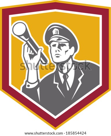 Illustration of a policeman security guard police officer with flashlight torch set inside shield crest done in retro style on isolated background. - stock vector