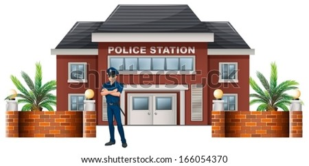 Illustration of a policeman standing in front of the police station on a white background - stock vector