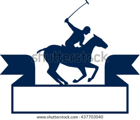 Illustration of a polo player riding horse with polo stick mallet viewed from the side set on isolated white background with ribbon done in retro style.