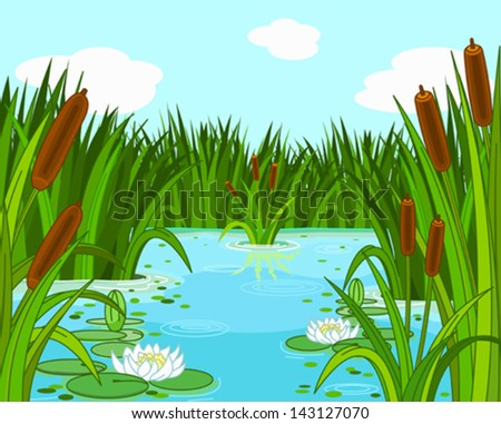 Illustration of a pond scene - stock vector