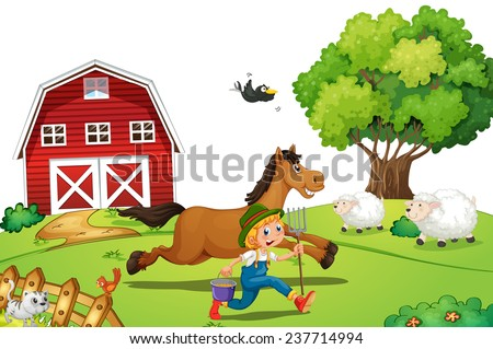 Illustration of a pop-up book with a farmer and a horse