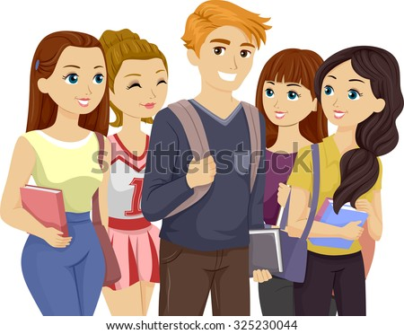 Illustration of a Popular Teenage Guy Surrounded by Girls - stock vector