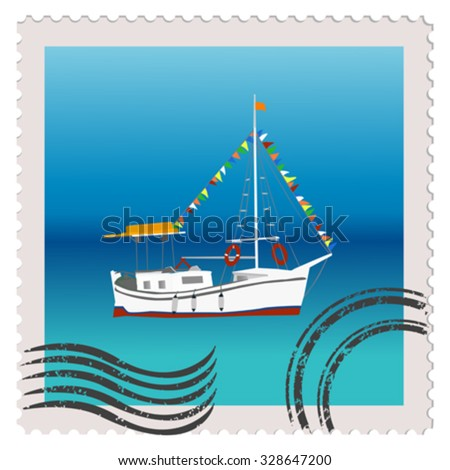 Illustration of a postage stamp with sailing ship with colorful bunting strung across the masts - stock vector