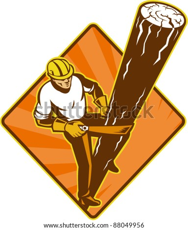 illustration of a power lineman electrician repairman worker at work climbing electric utility pole set inside diamond on isolated background viewed from a high angle