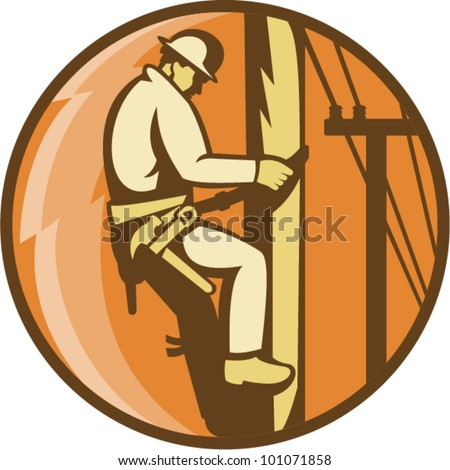 Illustration of a power lineman worker electrician climbing electricity utility post with lightning bolt set inside circle done in retro style. - stock vector