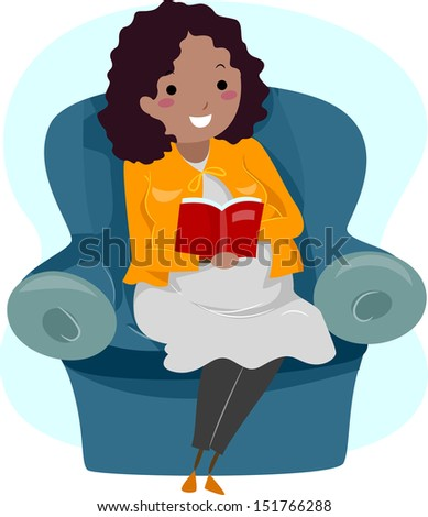 Illustration of a Pregnant Woman Reading a Story to Her Unborn Child - stock vector