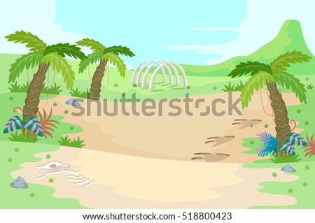 Illustration of a Prehistoric Scene Featuring Palm Trees and Dinosaur Bones