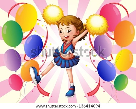 Illustration of a pretty cheerleader with her yellow pompoms - stock vector