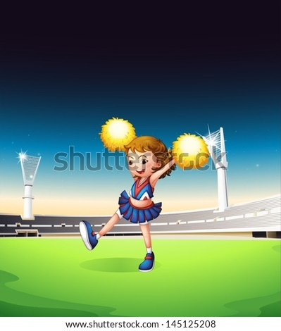 Illustration of a pretty young cheerleader at the field - stock vector