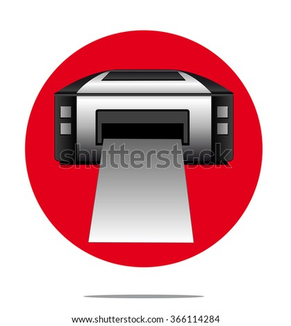Illustration of a printer with red circle background - stock vector