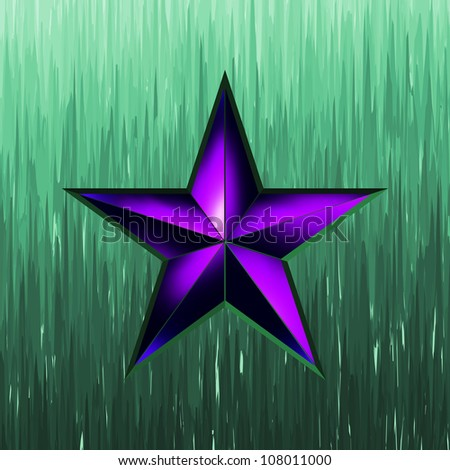 illustration of a purple star on steel background. EPS 8 vector file included - stock vector