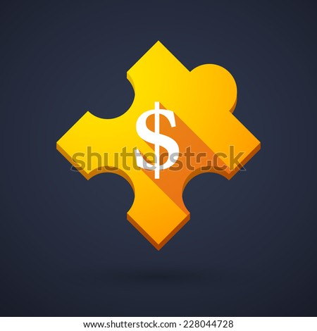 Illustration of a puzzle piece icon with a currency sign - stock vector