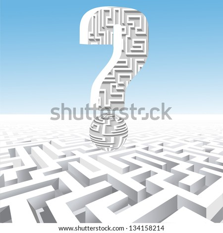 illustration of a question mark over the maze - stock vector