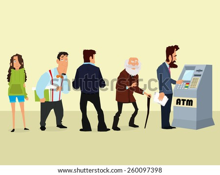 illustration of a queue of people to the ATM. vector. - stock vector