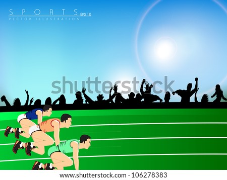 Illustration of a race, athletes ready to start the race with cheering audience silhouette. EPS 10.