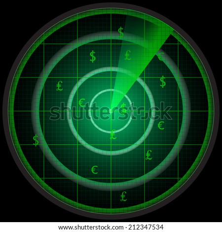 Illustration of a radar screen with three money symbols - stock vector