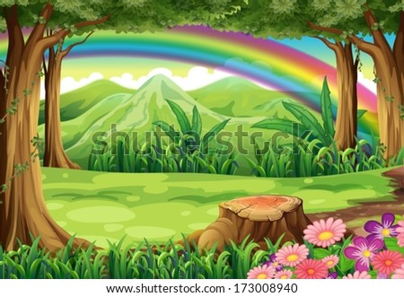 Illustration of a rainbow and a forest - stock vector