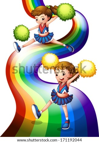 Illustration of a rainbow and the two cheerers on a white background - stock vector